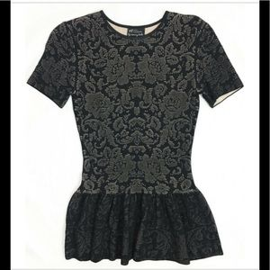 Black floral jacquard stretch  knit peplum top